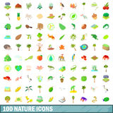 100 nature icons set, cartoon style. 100 nature icons set in cartoon style for any design vector illustration Royalty Free Stock Images