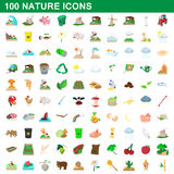 100 nature icons set, cartoon style. 100 nature icons set in cartoon style for any design vector illustration royalty free illustration