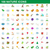 100 nature icons set, cartoon style. 100 nature icons set in cartoon style for any design vector illustration Royalty Free Stock Photo