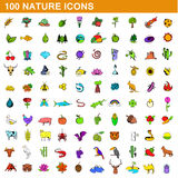 100 nature icons set, cartoon style Royalty Free Stock Image