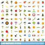 100 nature icons set, cartoon style. 100 nature icons set in cartoon style for any design vector illustration Stock Photos