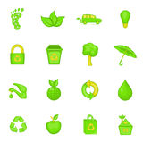Nature icons set, cartoon style Stock Photography