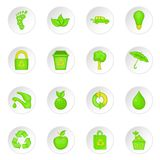 Nature icons set, cartoon style Stock Images