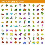 100 nature icons set, cartoon style. 100 nature icons set in cartoon style for any design illustration vector illustration