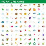 100 nature icons set, cartoon style. 100 nature icons set in cartoon style for any design illustration royalty free illustration