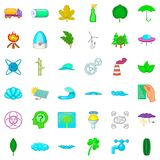 Nature icons set, cartoon style Royalty Free Stock Photo