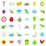 Nature icons set, cartoon style. Nature icons set. Cartoon style of 36 nature vector icons for web isolated on white background Royalty Free Stock Photos