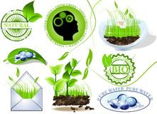 Nature icons set, eco and bio message Stock Images