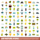 100 nature icons set, flat style Royalty Free Stock Photo