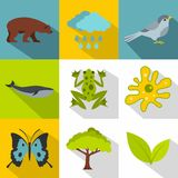 Nature icons set, flat style Stock Photo