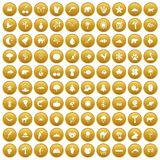 100 nature icons set gold. 100 nature icons set in gold circle isolated on white vector illustration royalty free illustration