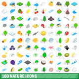 100 nature icons set, isometric 3d style. 100 nature icons set in isometric 3d style for any design vector illustration royalty free illustration
