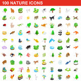 100 nature icons set, isometric 3d style. 100 nature icons set in isometric 3d style for any design vector illustration vector illustration