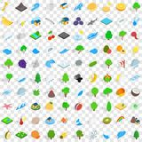 100 nature icons set, isometric 3d style. 100 nature icons set in isometric 3d style for any design vector illustration Royalty Free Stock Photography