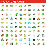 100 nature icons set, isometric 3d style. 100 nature icons set in isometric 3d style for any design illustration royalty free illustration