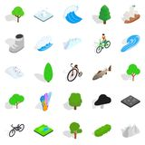 Nature icons set, isometric style Royalty Free Stock Photography