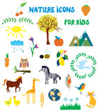 Nature icons set for kids Stock Photo