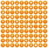 100 nature icons set orange. 100 nature icons set in orange circle isolated on white vector illustration Vector Illustration