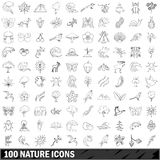 100 nature icons set, outline style. 100 nature icons set in outline style for any design vector illustration vector illustration