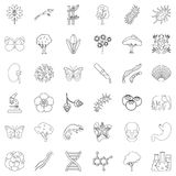 Nature icons set, outline style. Nature icons set. Outline style of 36 nature vector icons for web isolated on white background Royalty Free Stock Photography