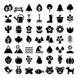 Nature Icons Set, Park, Outdoors Animals, Ecology, Organic Food Design - Big Pack Stock Photos