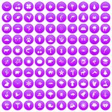 100 nature icons set purple. 100 nature icons set in purple circle isolated on white vector illustration royalty free illustration