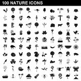 100 nature icons set, simple style. 100 nature icons set in simple style for any design vector illustration Royalty Free Stock Photo