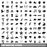 100 nature icons set, simple style. 100 nature icons set in simple style for any design vector illustration Royalty Free Stock Photos