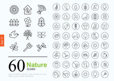 60 nature icons. Set of nature icons for web or services. 60 design eco line icons high quality, vector illustration Royalty Free Stock Images