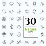 30 nature icons. Set of nature icons for web or services. 30 design eco line icons high quality, vector illustration Stock Photos