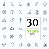 30 nature icons. Set of nature icons for web or services. 30 design eco line icons high quality, vector illustration Stock Photography