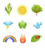 Nature icons. Vector set of nature icons isolated on a white background Royalty Free Stock Photos