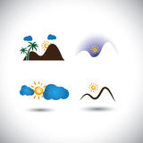 Nature icons vector set - mountains, sunsets, sky & sunrises. This graphic also represents abstract landscape scenes like hills, palm trees, mornings, evenings vector illustration