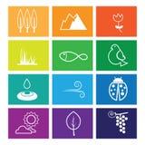 Nature icons windows flat line Royalty Free Stock Image