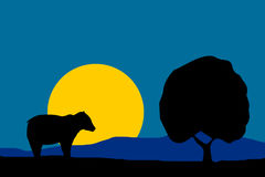 Nature illustration - night moon bear silhouette and tree Stock Images