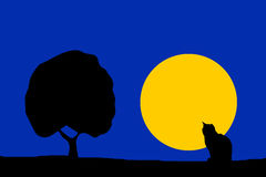 Nature illustration - night moon cat silhouette and tree Royalty Free Stock Photos