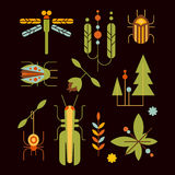 Nature, Insects, Leaves and Tree Icons Vector Stock Image