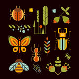 Nature, Insects and Tree Icons Vector Illustration Royalty Free Stock Photo