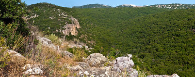 Nature in Israel. View of the mountains in the upper Galilee. Israel Royalty Free Stock Photo