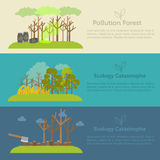 Nature issue deforestation, fire tree and. Pollution banner style design concept Royalty Free Stock Photos