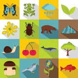 Nature items icons set, flat style Stock Photos