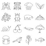 Nature items icons set, outline style. Nature items icons set. Outline illustration of 16 nature items vector icons for web Royalty Free Stock Images