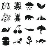 Nature items icons set, simple style. Nature items icons set. Simple illustration of 16 nature items vector icons for web Royalty Free Stock Photography