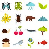 Nature items set flat icons Stock Photo