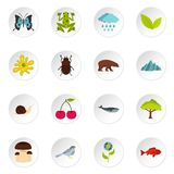 Nature items set flat icons Royalty Free Stock Images