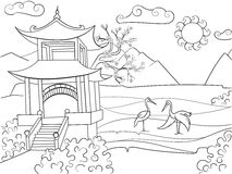 Nature of Japan coloring book for children cartoon vector illustration. Zentangle style. Black and white Royalty Free Stock Photography