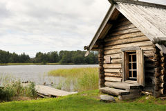 Nature. Karelia. Lake with old house in the island Royalty Free Stock Photography