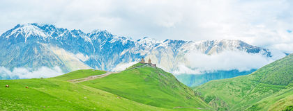 The nature of Kazbegi. Kazbegi National Park is the perfect place to enjoy the nature of Greater Caucasus Range, Georgia Royalty Free Stock Photos