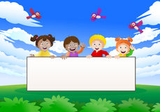 Nature kids banner. Illustration of four cute children holding a blank banner on nature background Stock Image