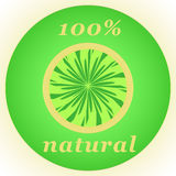 100% nature label. 100% natural background in a green circle pattern royalty free illustration